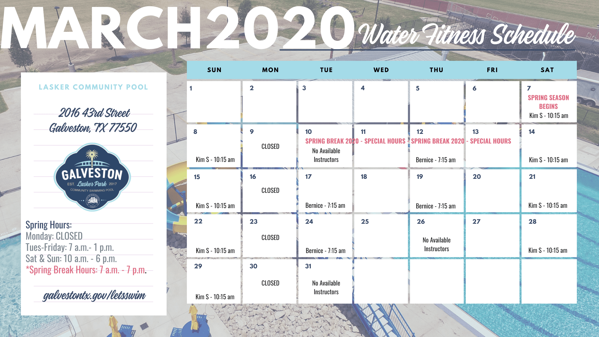 march 2020 water fitness schedule