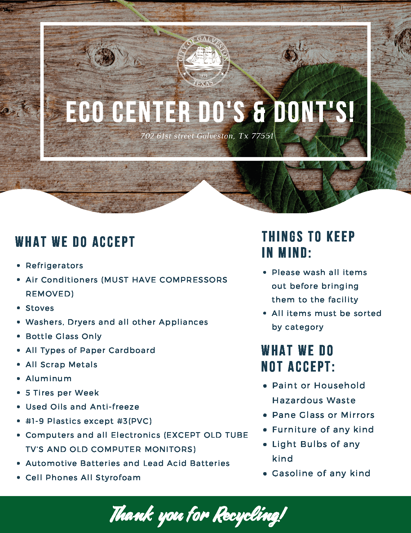 Eco Center Do's and Dont's