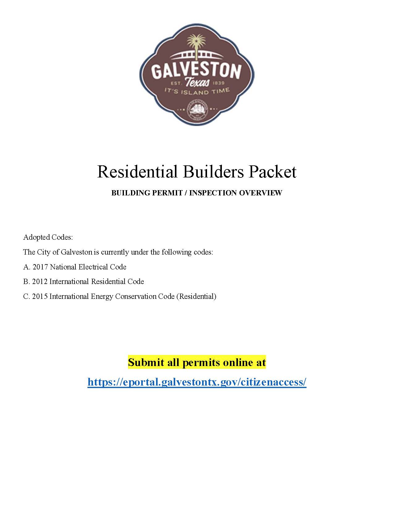 Residential Builders Packet - Cover Opens in new window