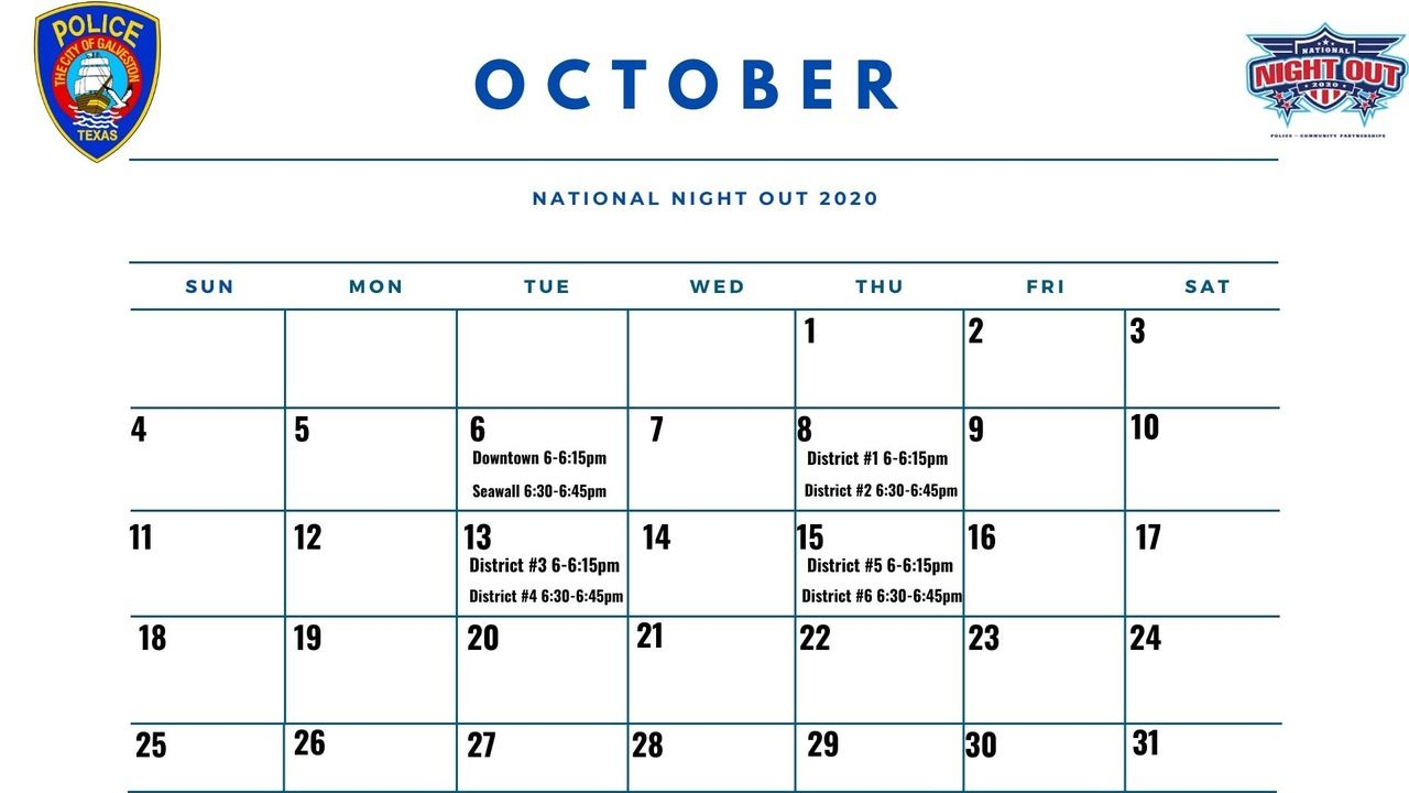 National Night Out 2020 Calendar