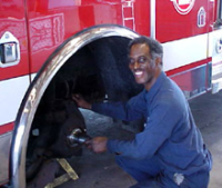 Mechanic working on a fire truck
